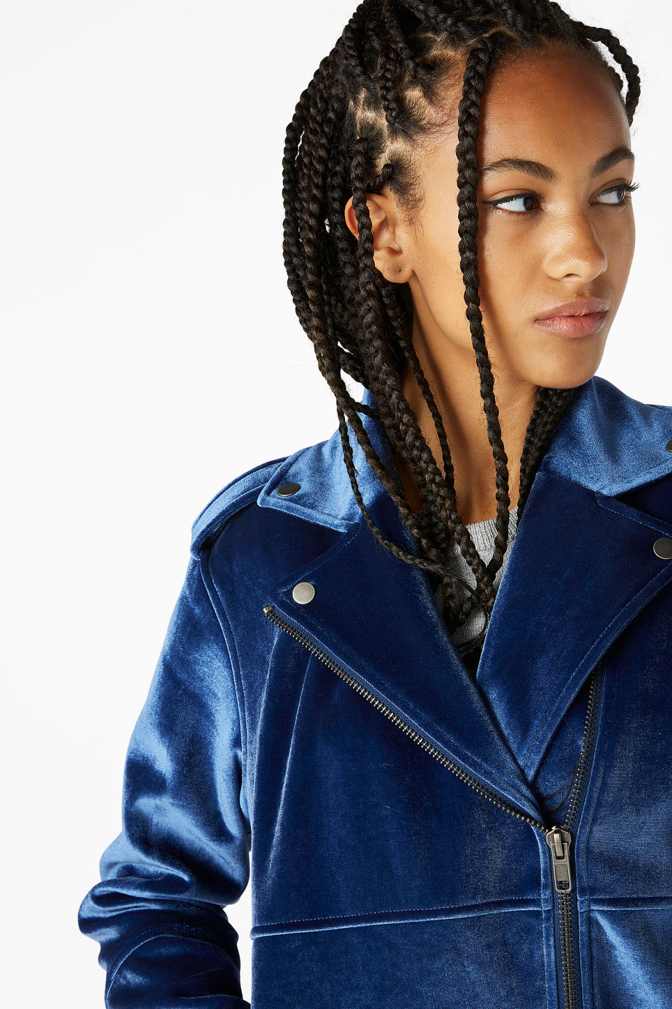 Model front image of Monki velvet biker jacket in blue