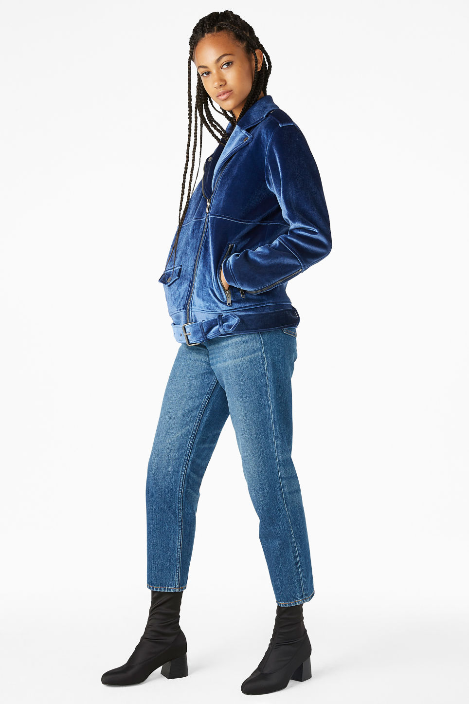 Model side image of Monki velvet biker jacket in blue