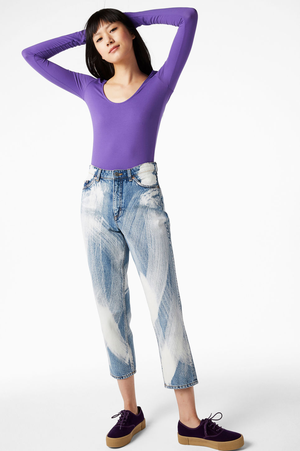 Model front image of Monki deep neck top in purple