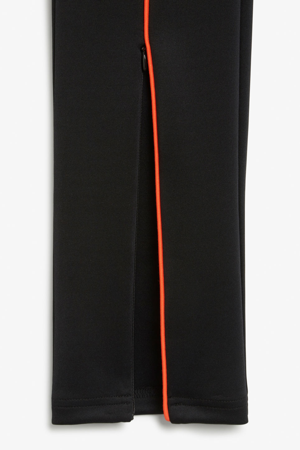 Model side image of Monki scuba stripe leggings in black