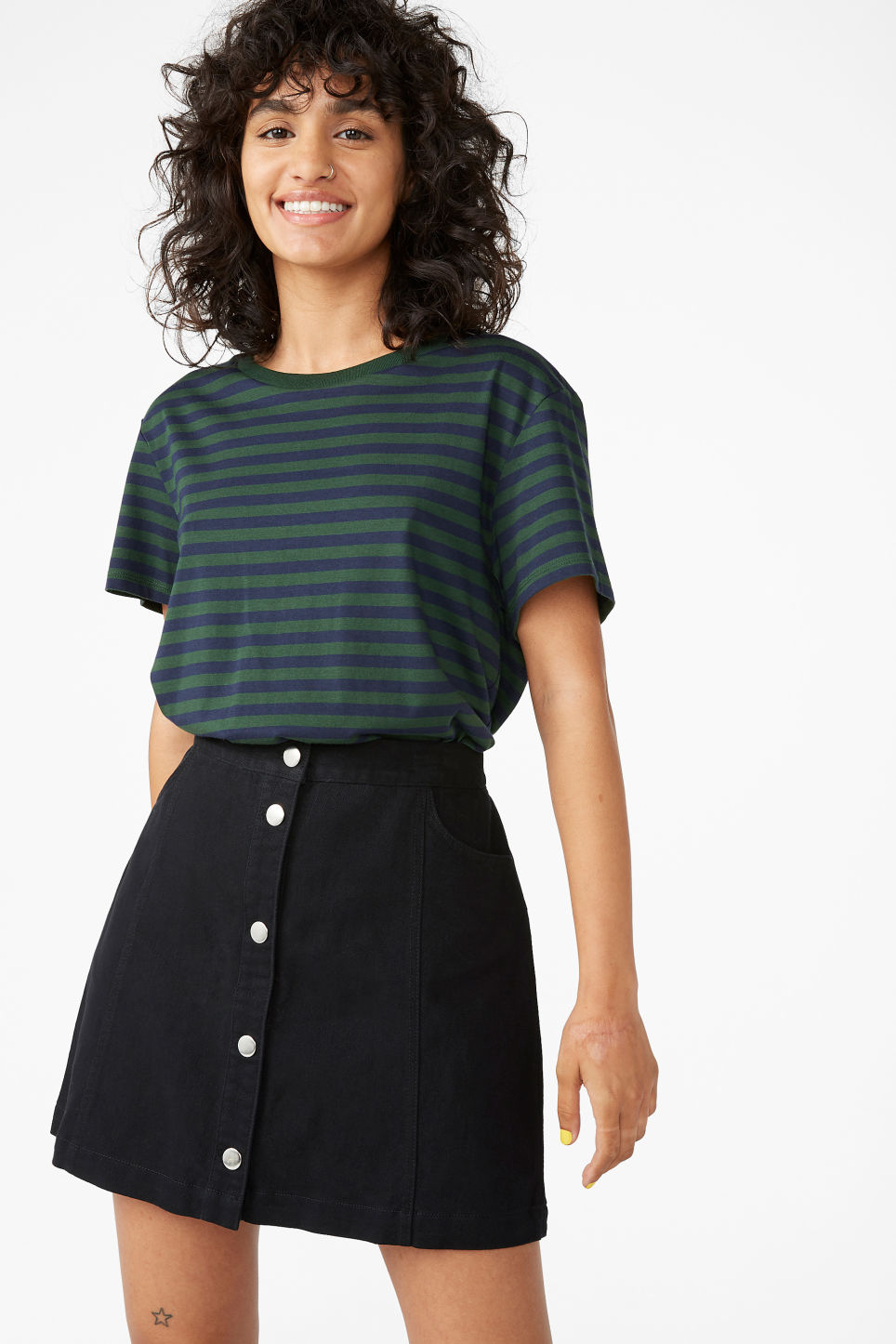 Model front image of Monki mini skirt in black
