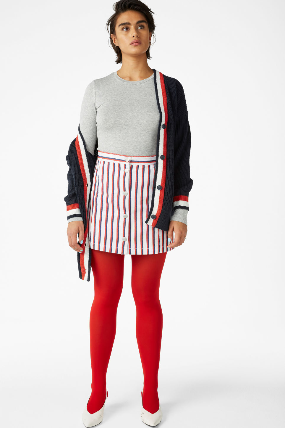 Model front image of Monki mini skirt in red
