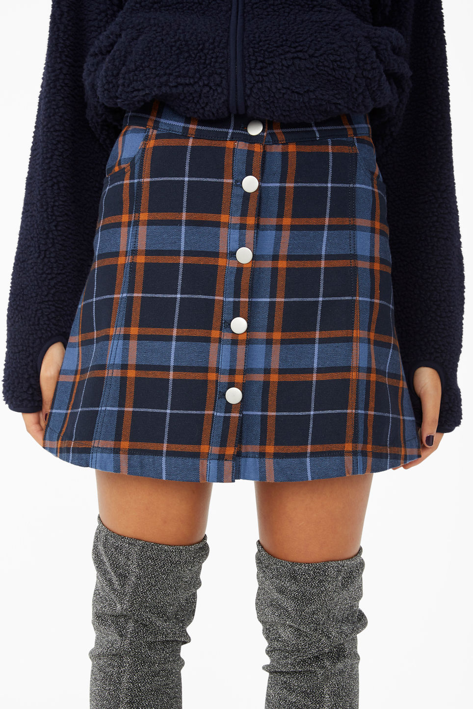 Model side image of Monki mini skirt in blue