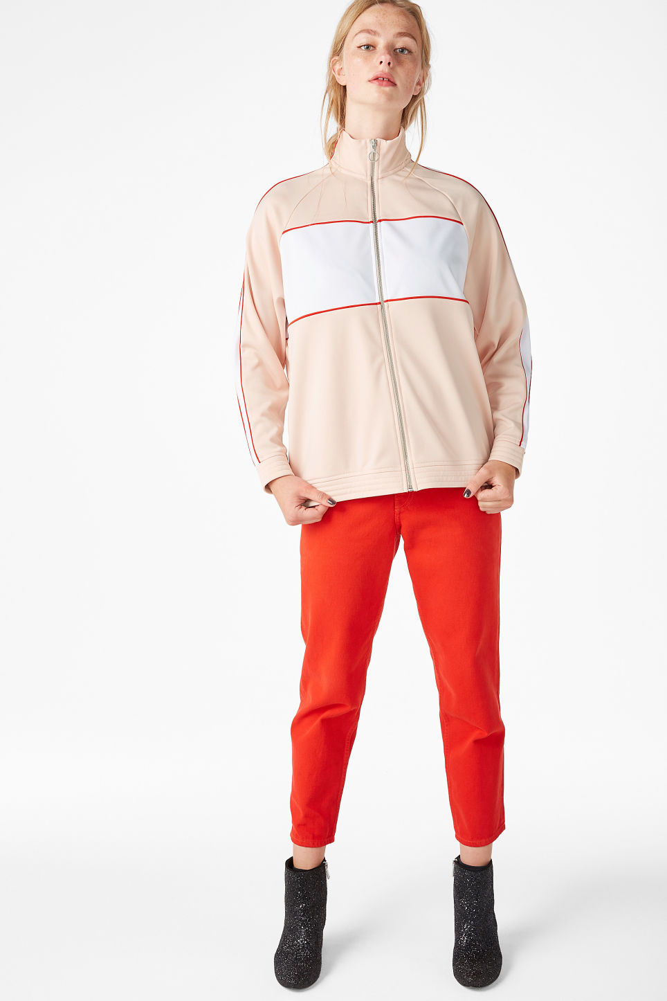 Model front image of Monki sporty zip jacket in orange
