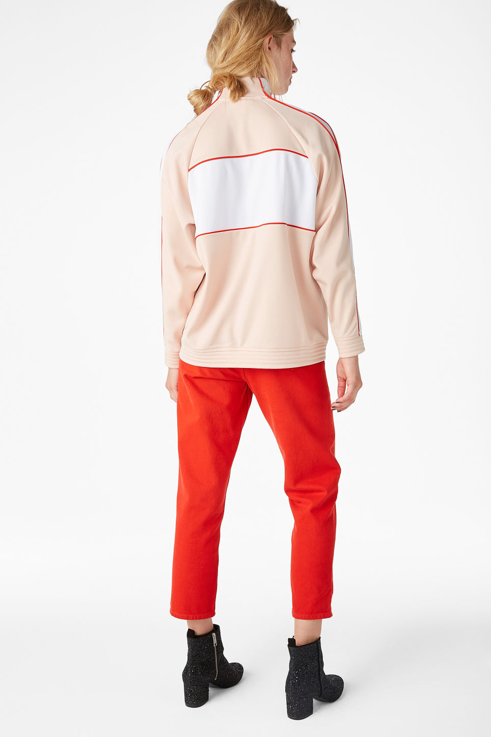 Model back image of Monki sporty zip jacket in orange