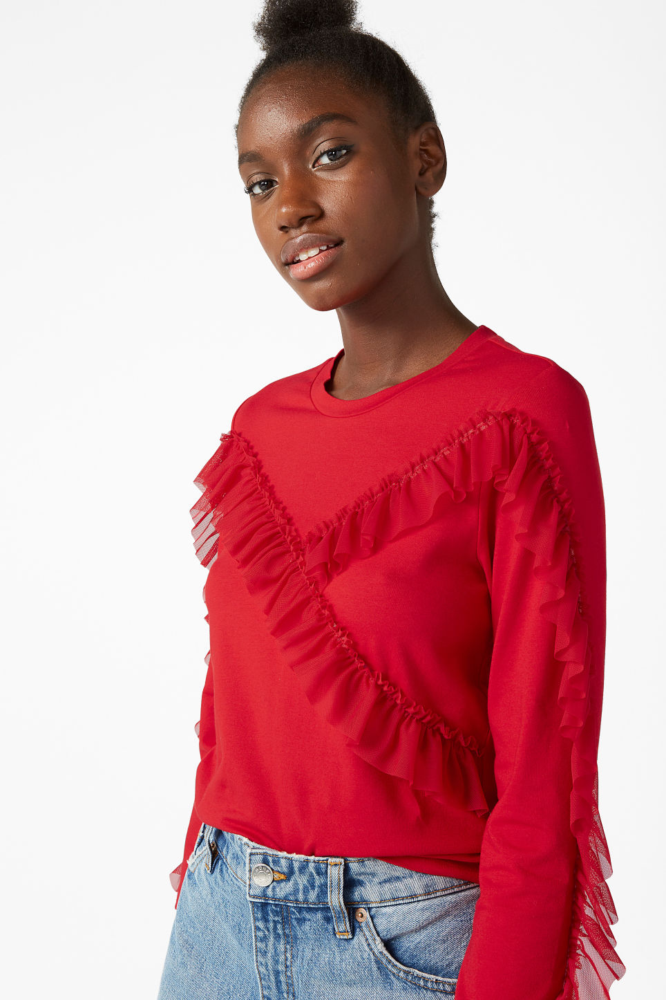 Model front image of Monki mesh ruffle tee in red