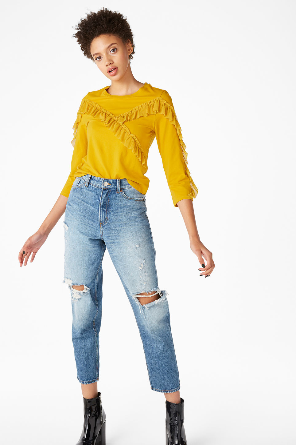 Model front image of Monki mesh ruffle tee in yellow