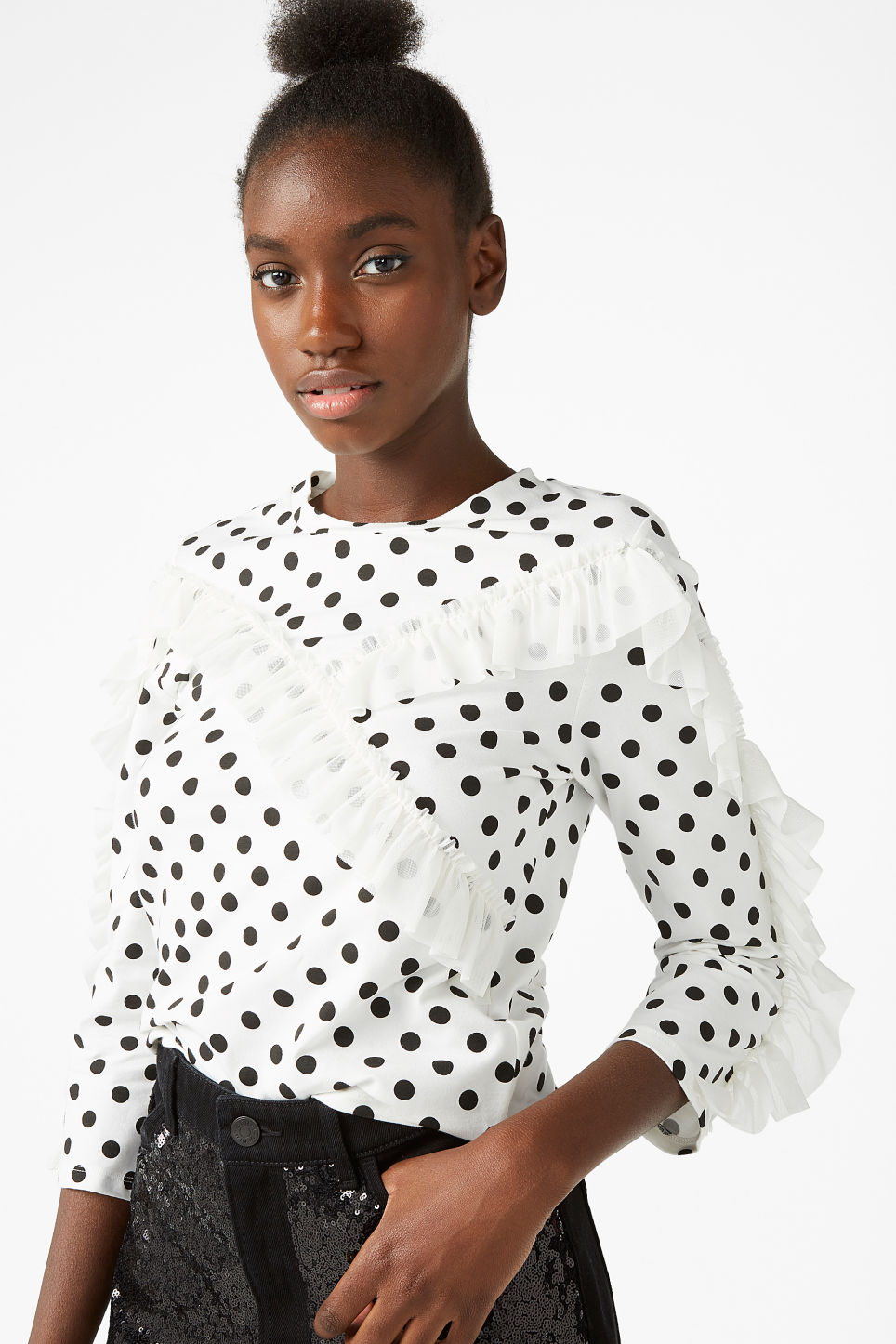 Model front image of Monki mesh ruffle tee in white