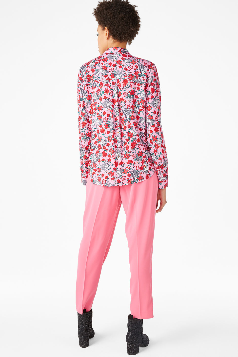 Model back image of Monki soft button up blouse in pink