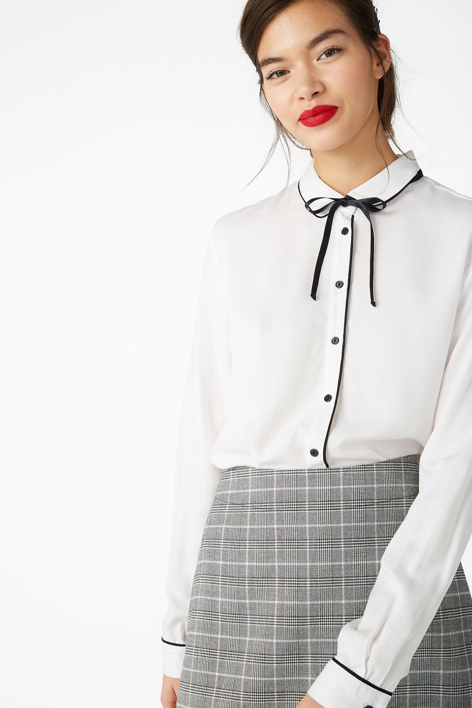 Model front image of Monki soft button up blouse in white