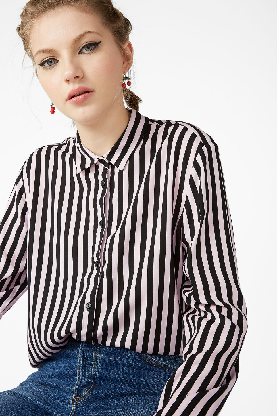 Model front image of Monki soft button up blouse in pink