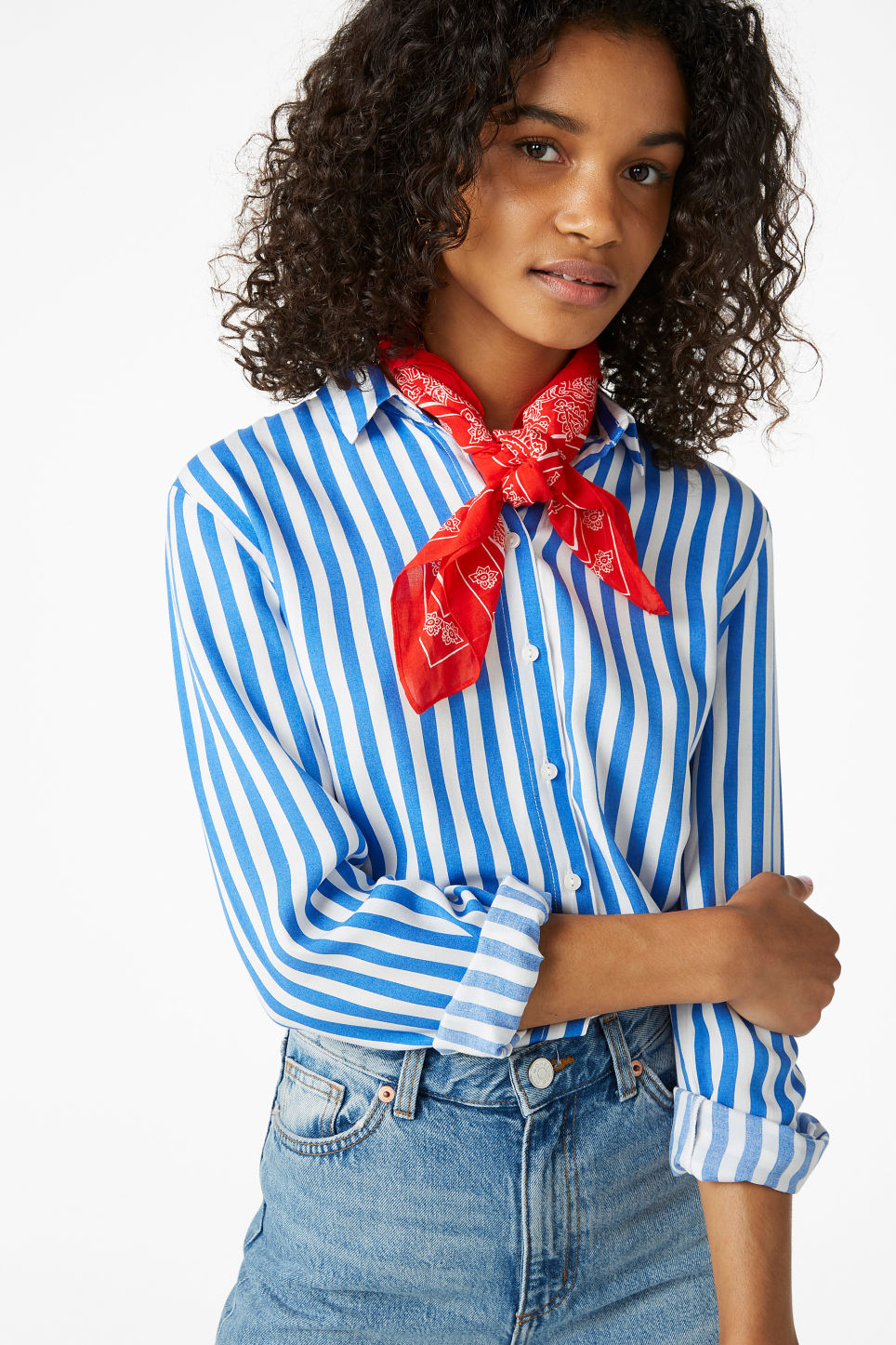 Model front image of Monki soft button up blouse in blue