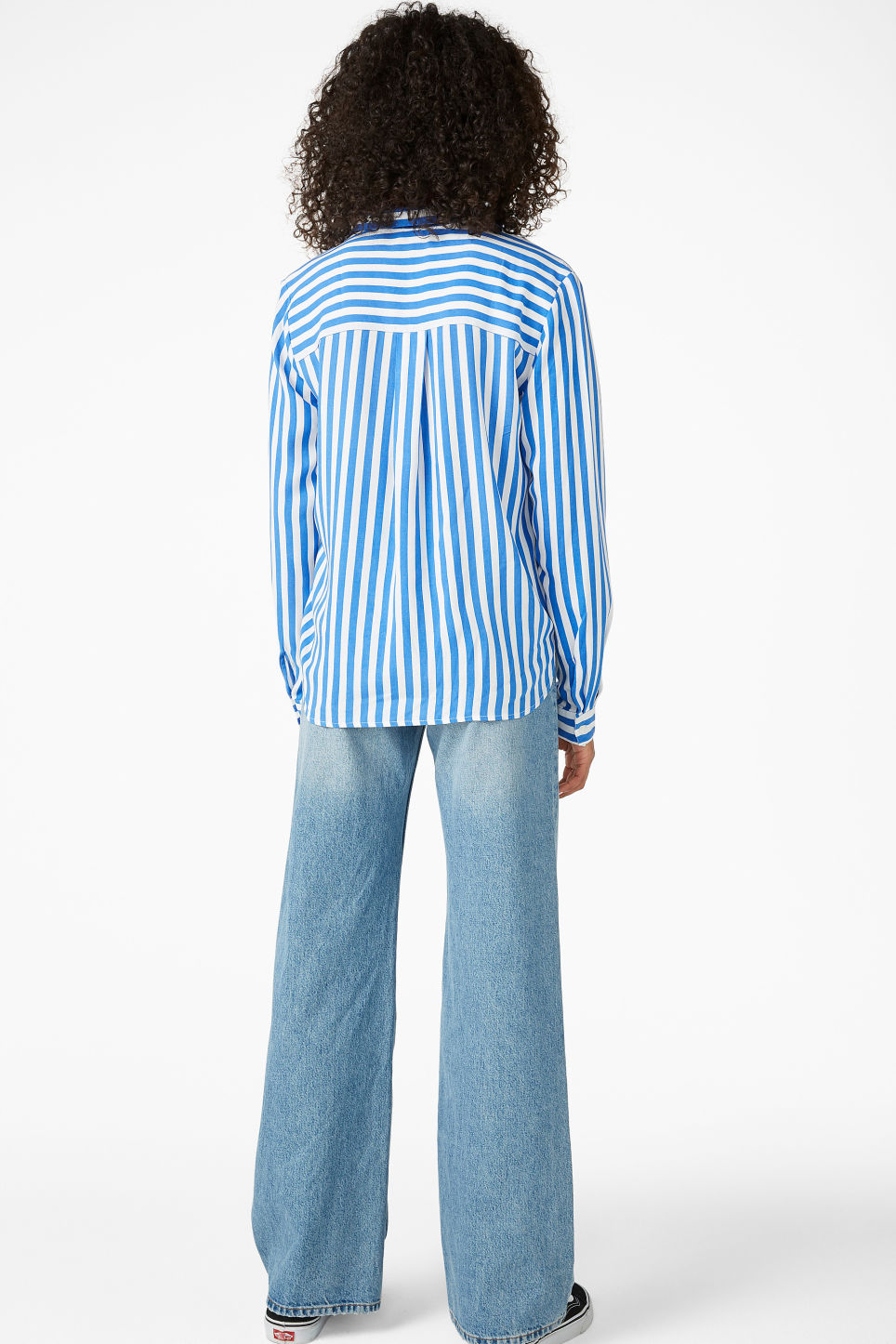 Model back image of Monki soft button up blouse in blue