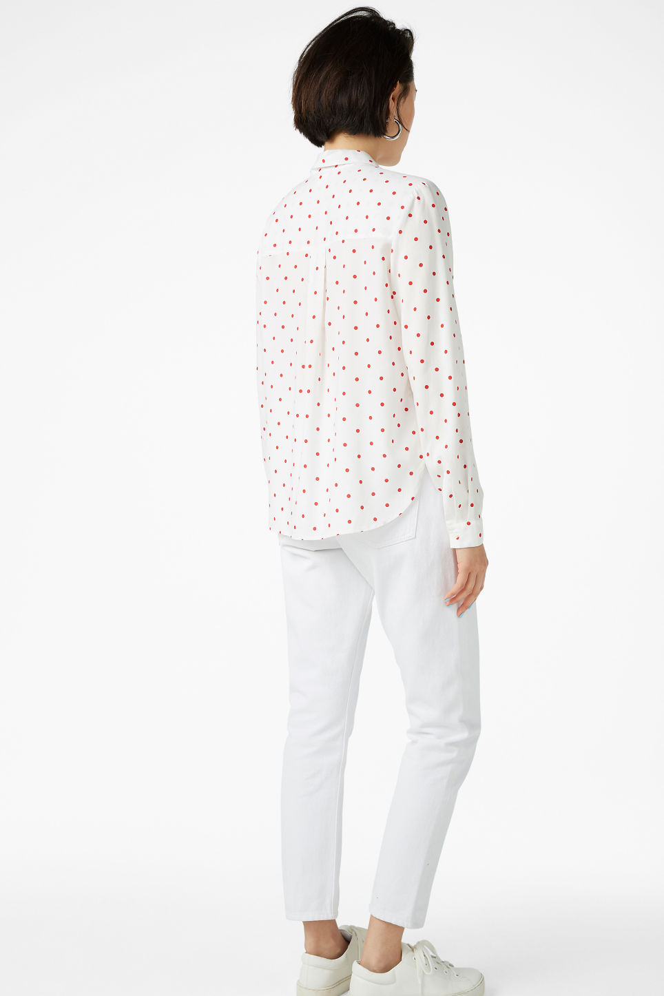 Model back image of Monki soft button up blouse in white