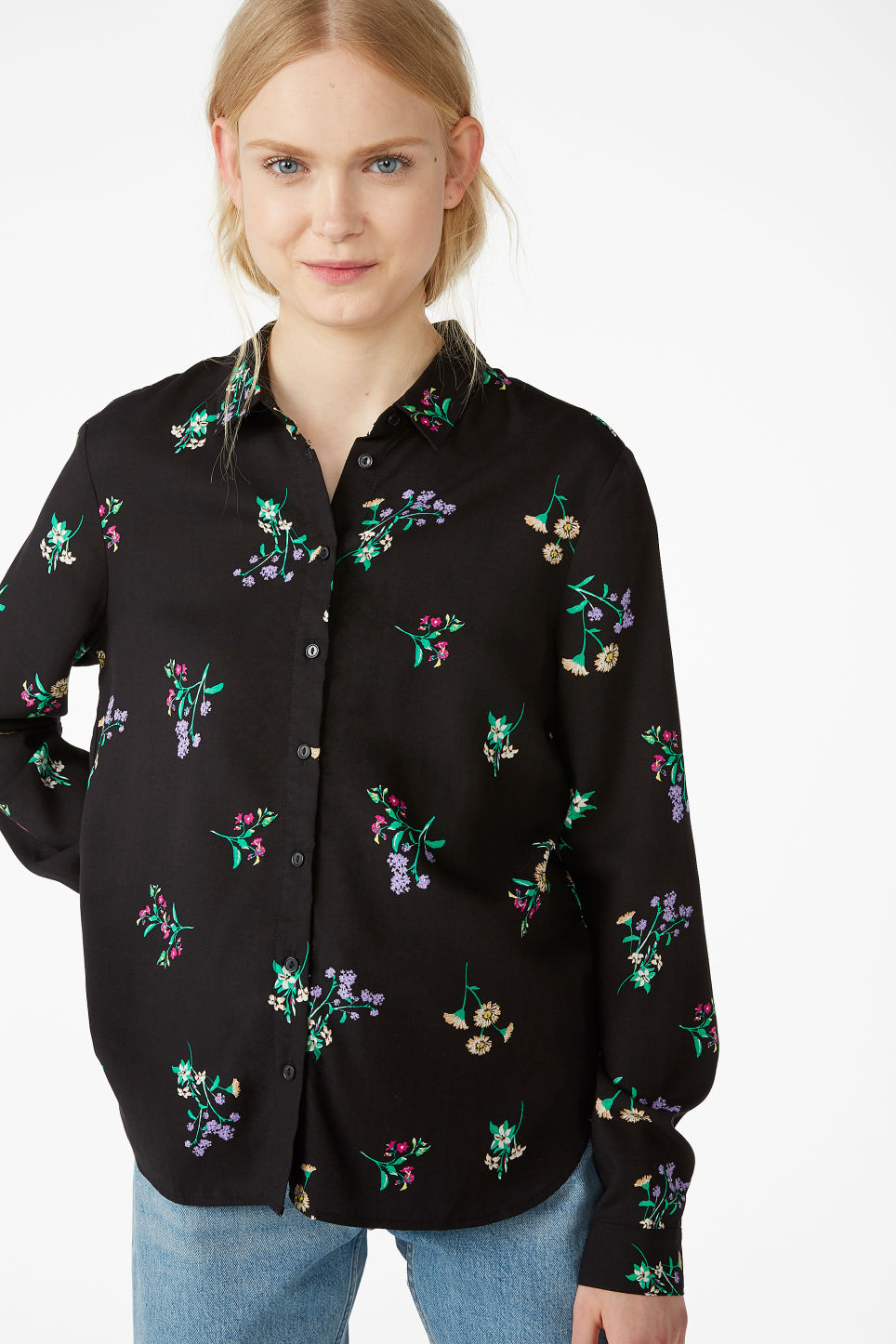 Model front image of Monki soft button up blouse in black