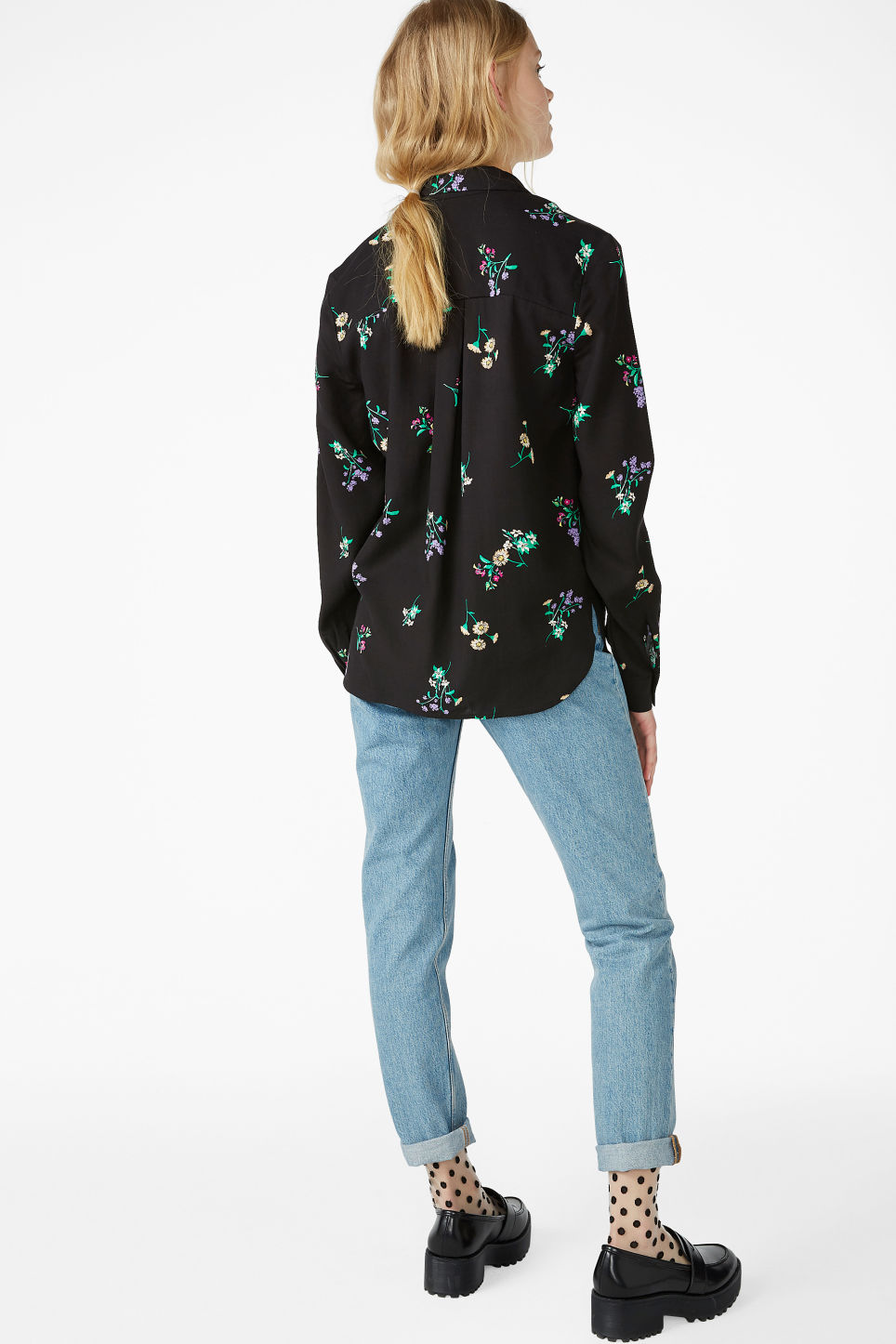 Model back image of Monki soft button up blouse in black