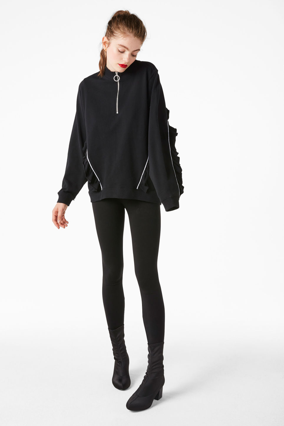 Model front image of Monki zip ruffle jacket in black