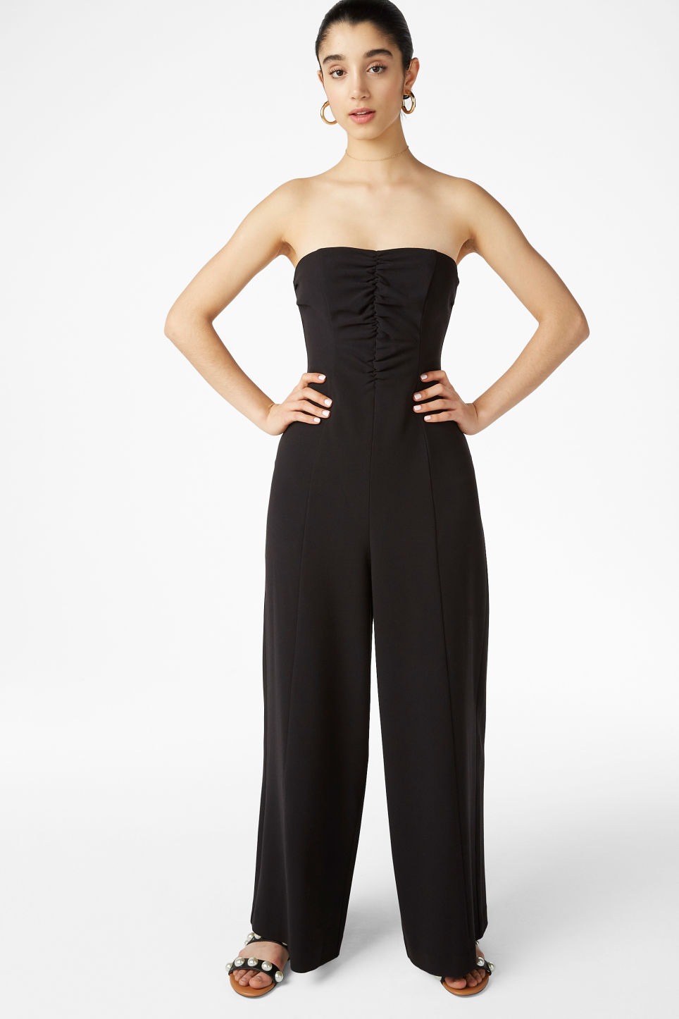 Model front image of Monki strapless jumpsuit in black