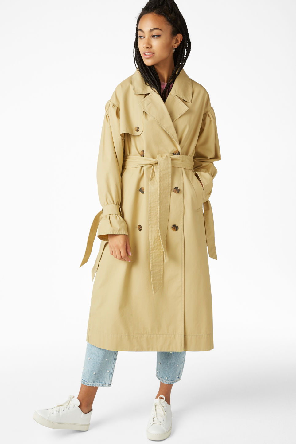 Model front image of Monki classic trench coat in beige