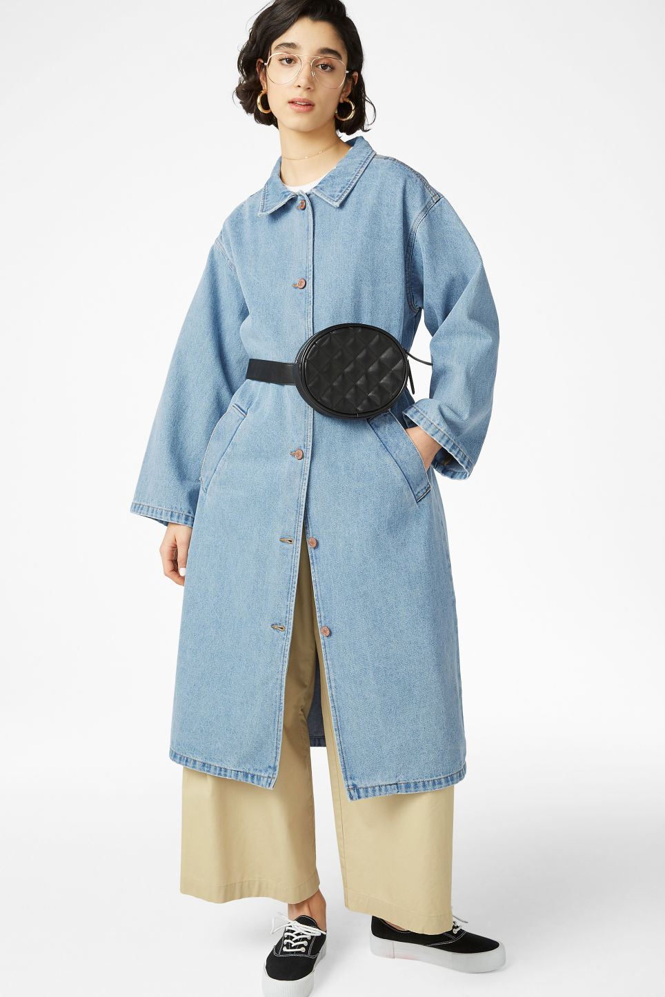 Model front image of Monki denim coat in blue
