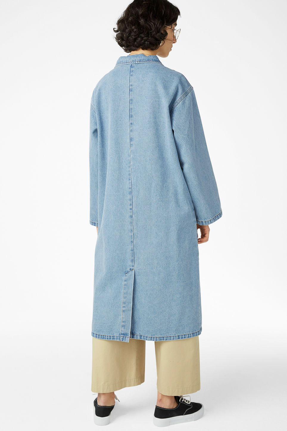 Model back image of Monki denim coat in blue