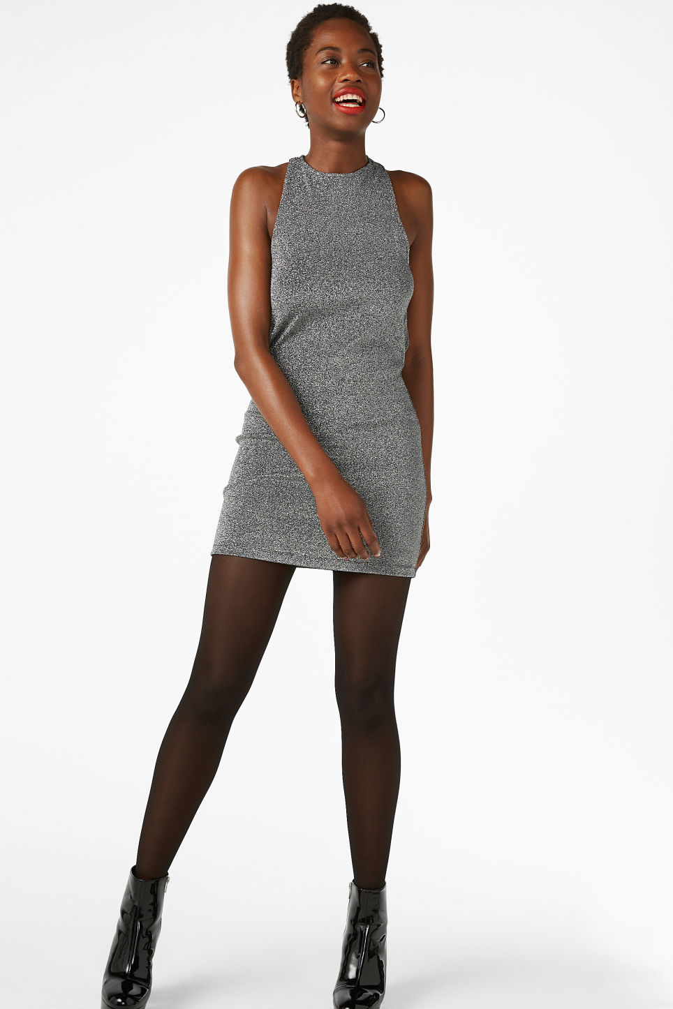 Model front image of Monki criss-cross back dress in black