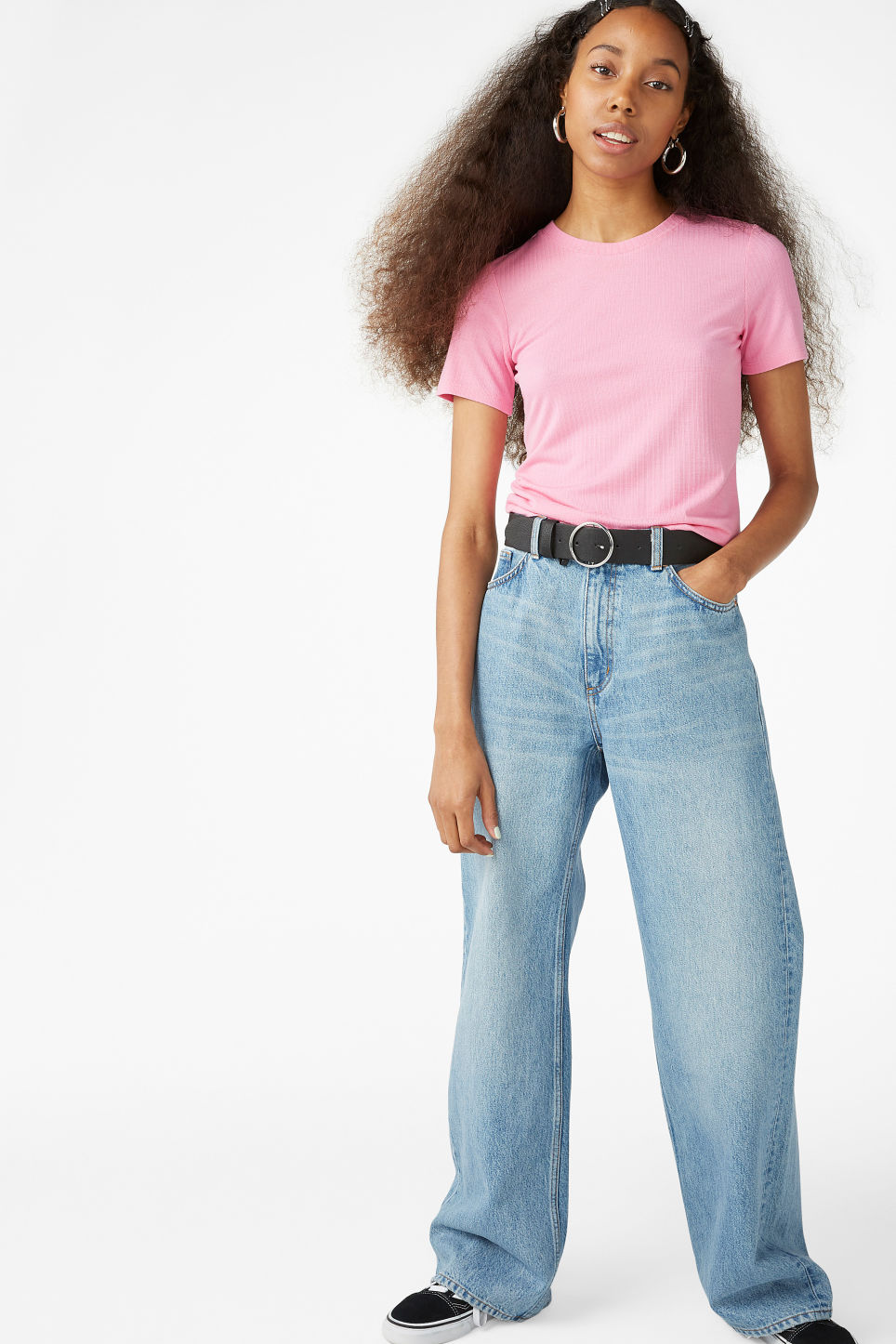 Model front image of Monki ribbed tee in pink
