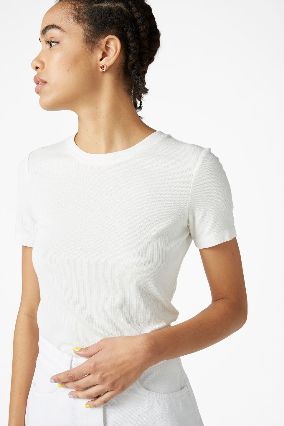Model front image of Monki ribbed tee in white