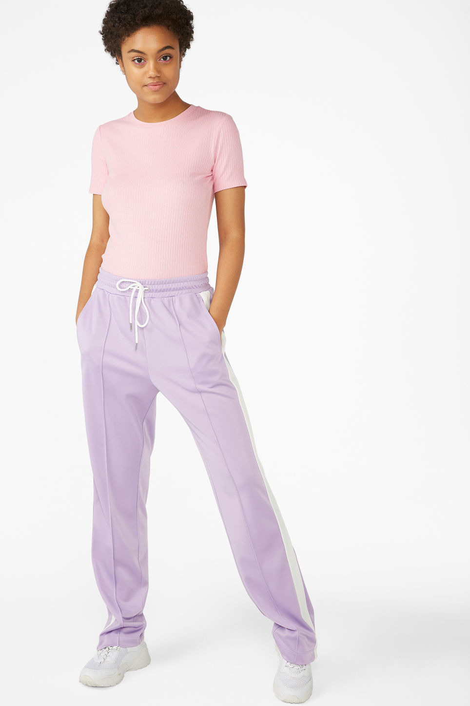 Model side image of Monki ribbed tee in pink