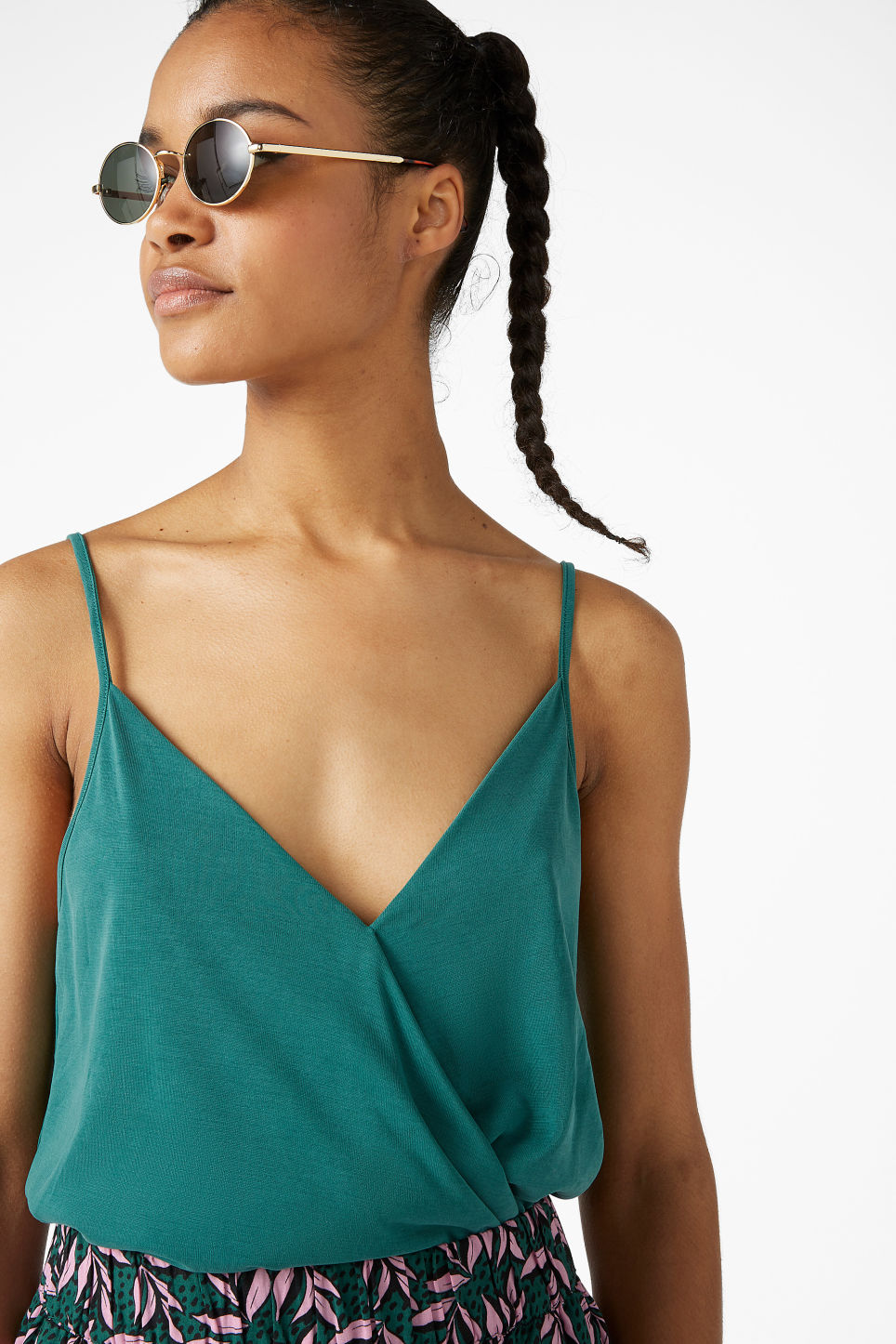 Model front image of Monki super-soft wrap singlet in green
