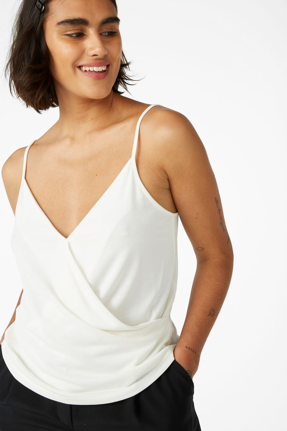 Model front image of Monki super-soft wrap singlet in white