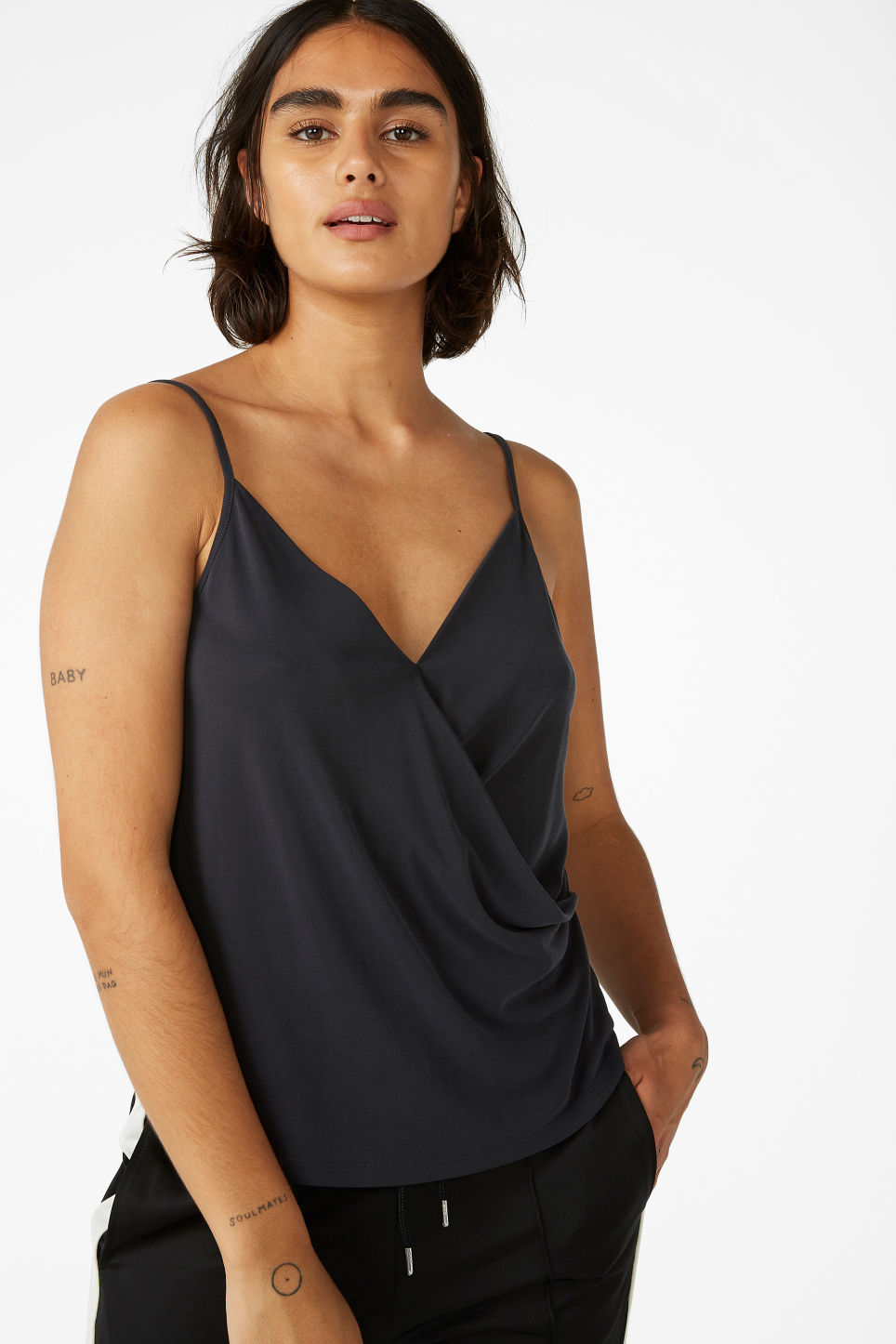 Model front image of Monki super-soft wrap singlet in black