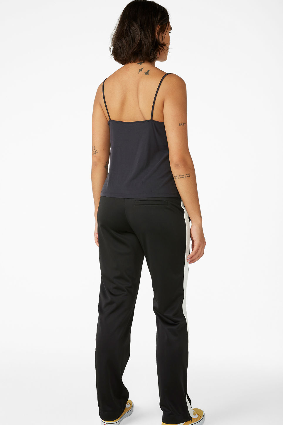Model back image of Monki super-soft wrap singlet in black