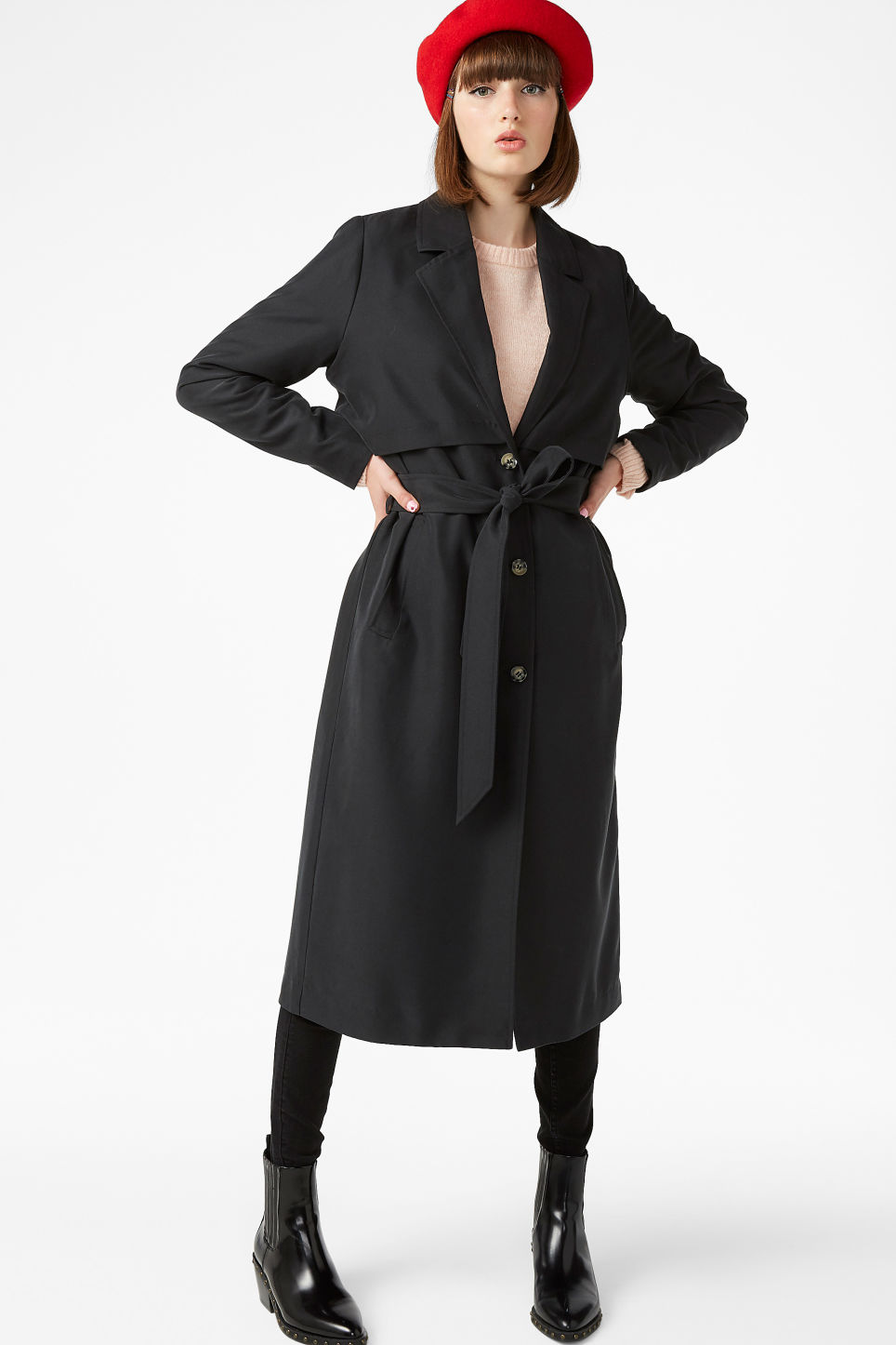 Model front image of Monki twill trench coat in black