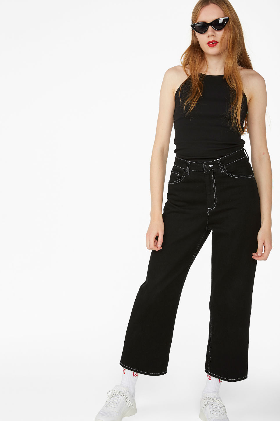 Model side image of Monki cropped singlet in black