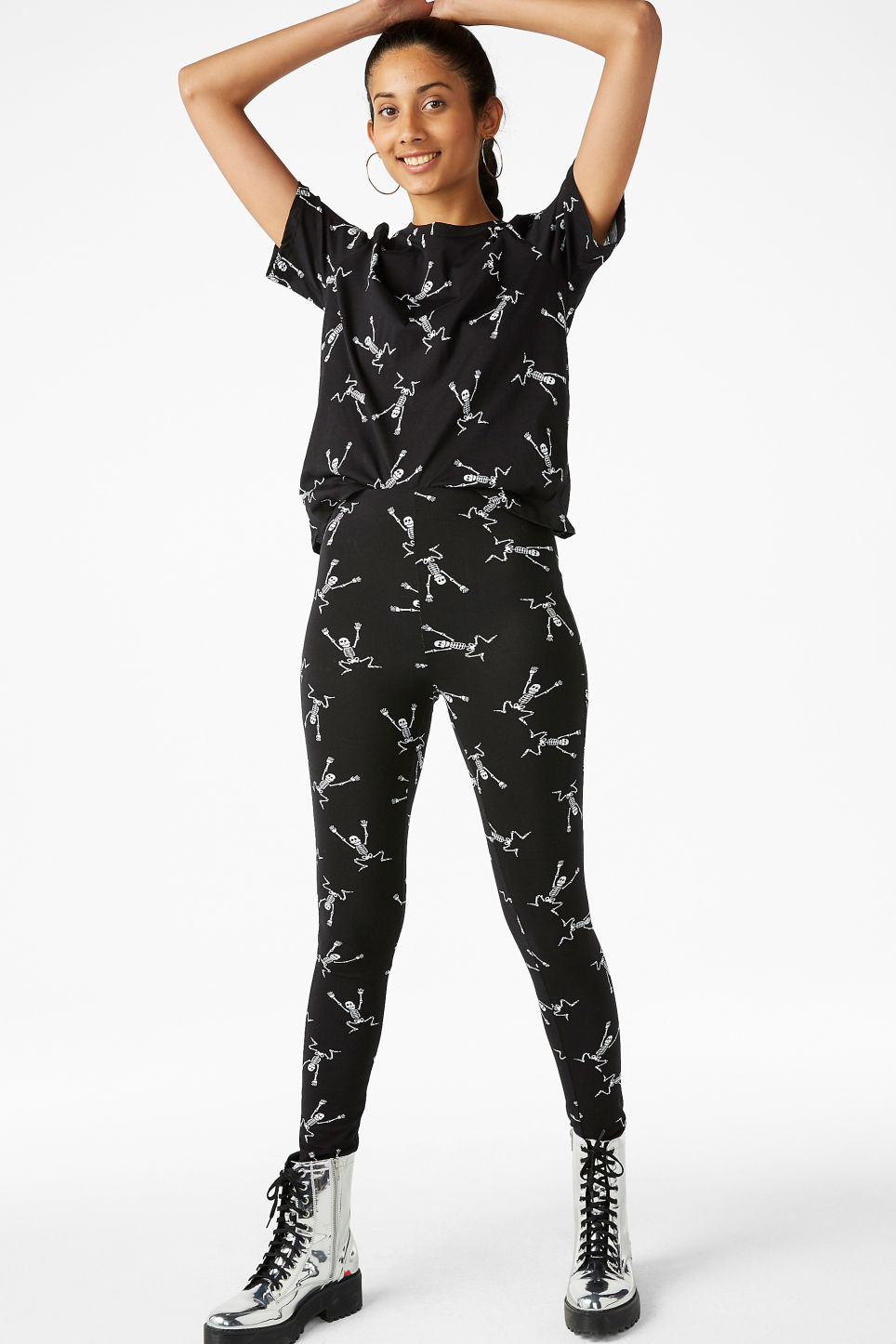 Model front image of Monki statement leggings in black