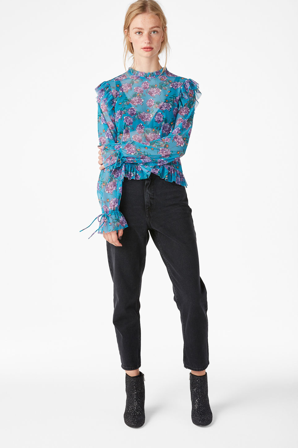 Model front image of Monki sheer ruffle blouse in turquoise