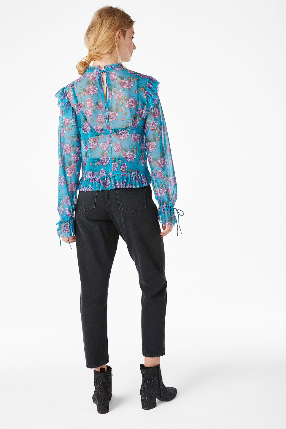 Model back image of Monki sheer ruffle blouse in turquoise