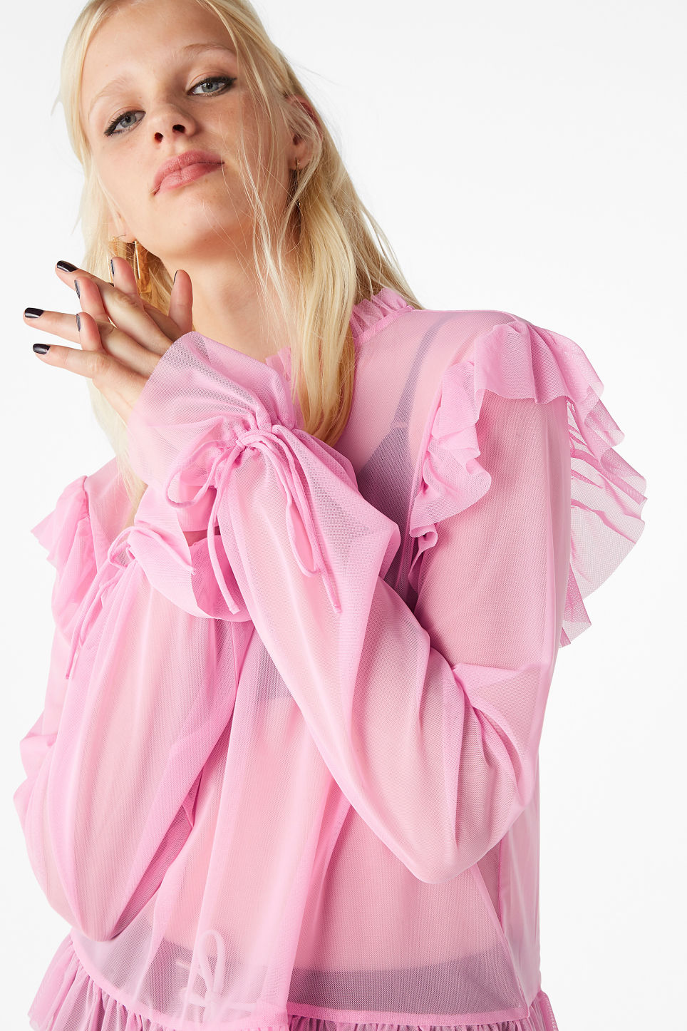 Model front image of Monki sheer ruffle blouse in pink