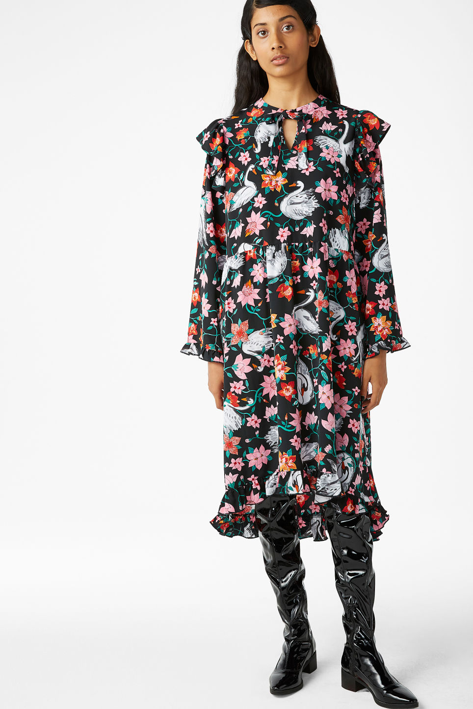 Model front image of Monki oversized dress with frill details in black
