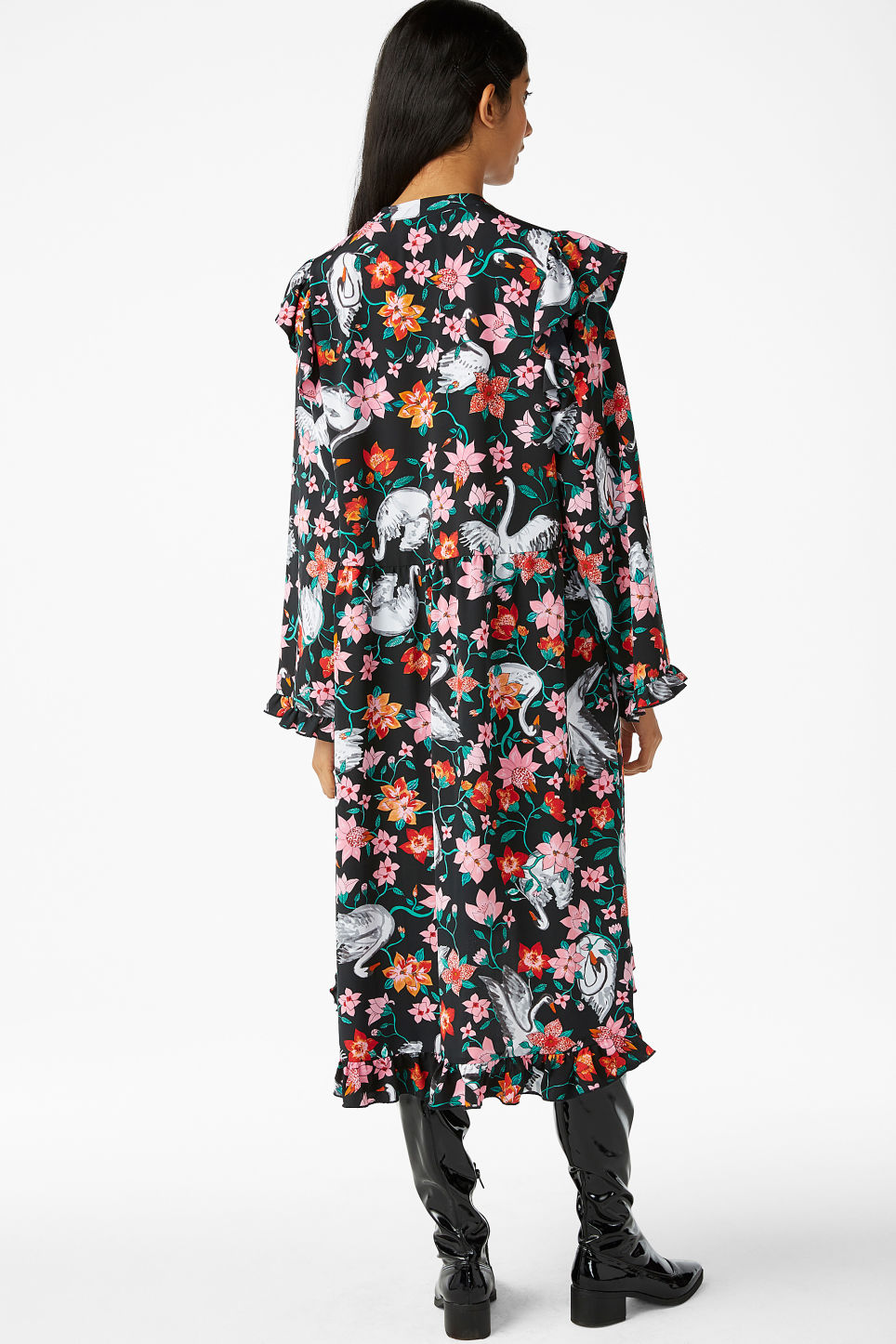 Model back image of Monki oversized dress with frill details in black