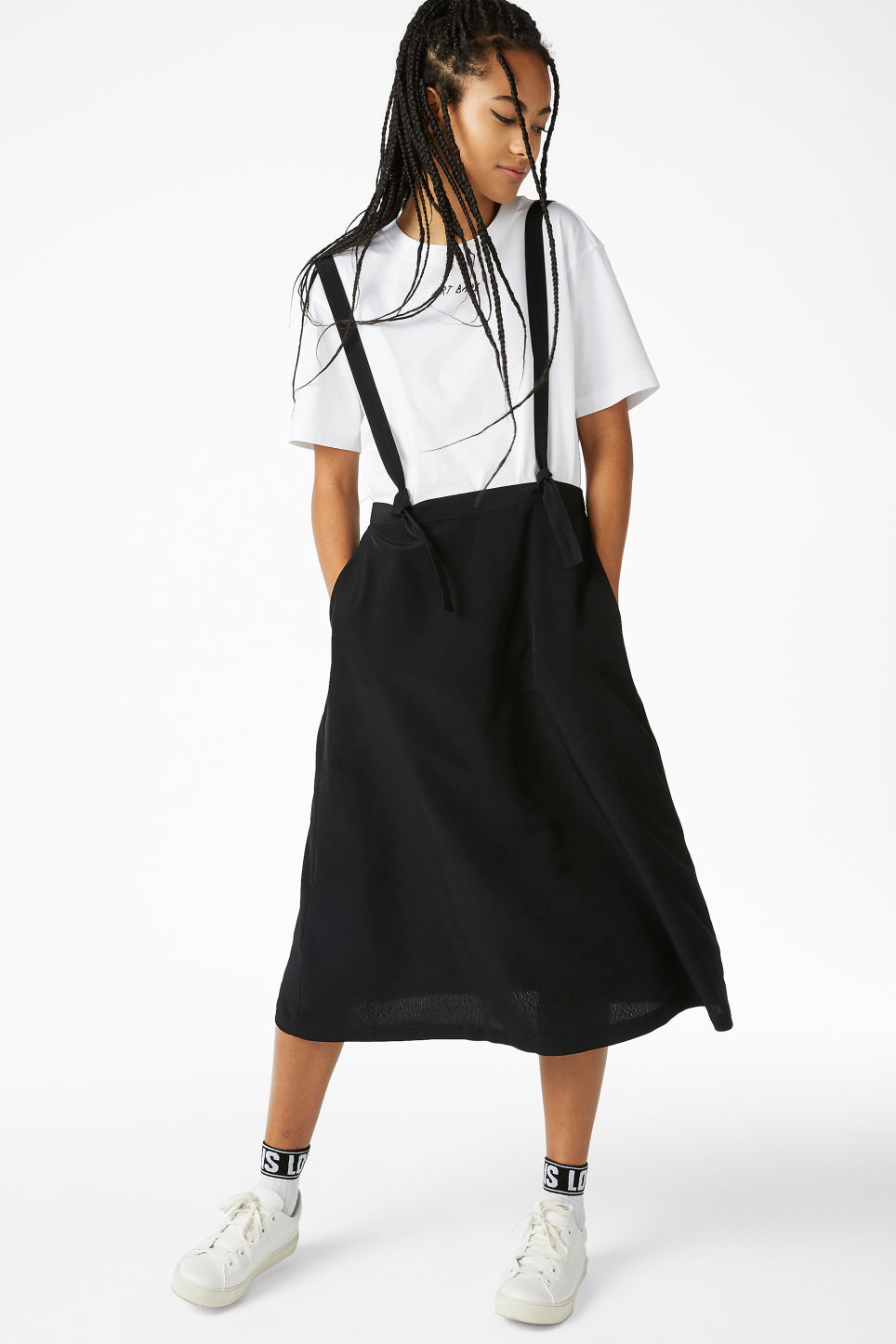 Model front image of Monki long dungaree skirt in black