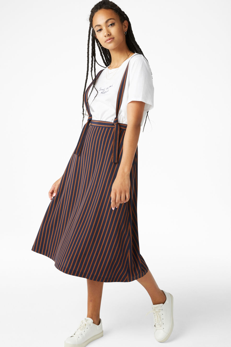 Model front image of Monki long dungaree skirt in blue