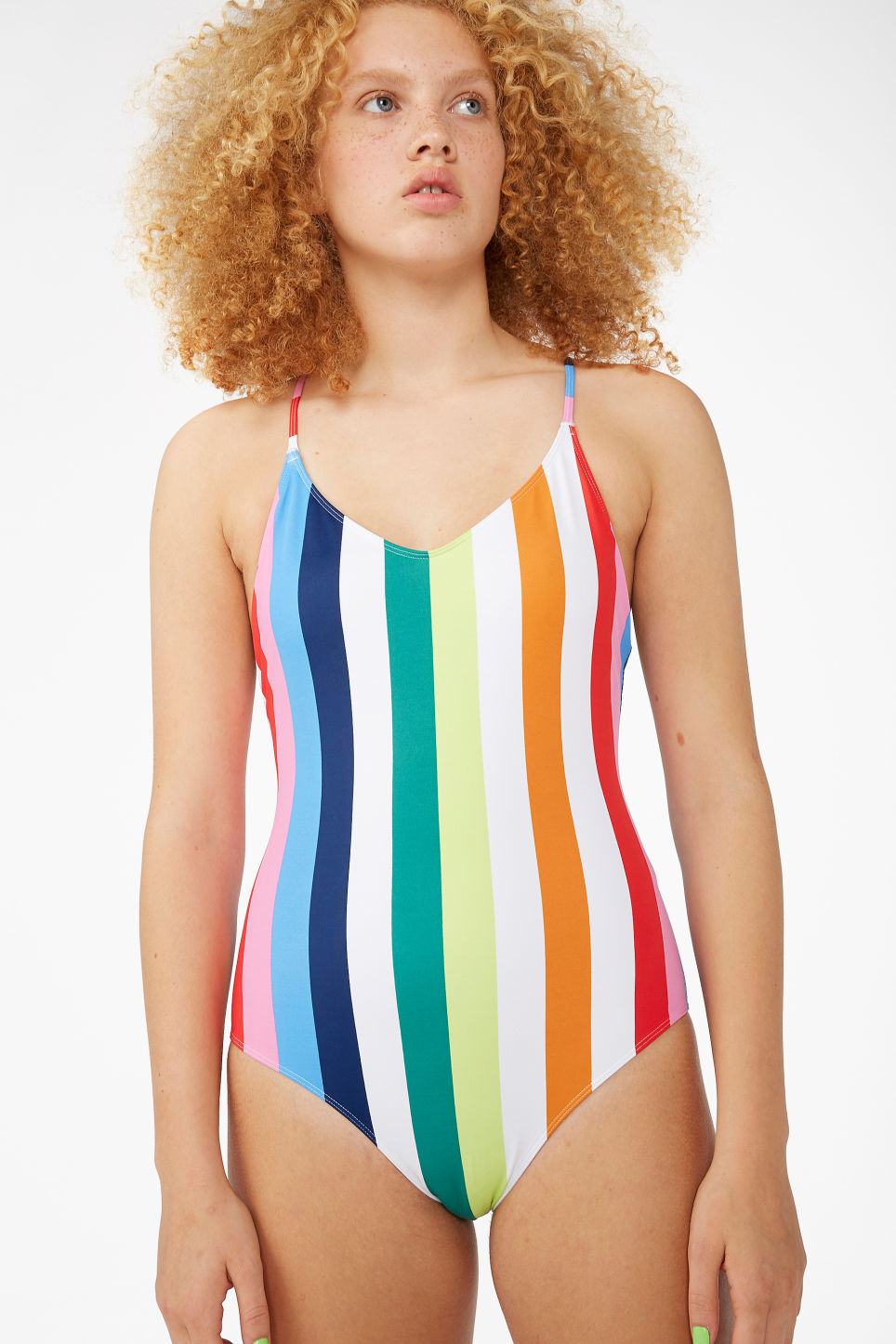 Model front image of Monki cross back swimsuit in pink