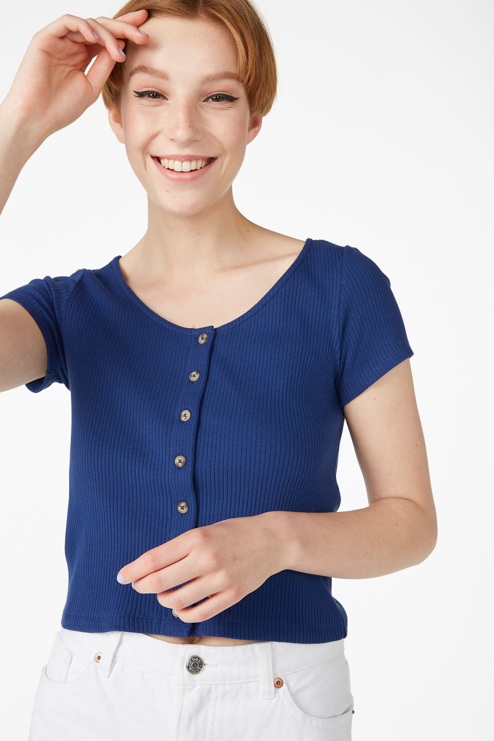 Model front image of Monki ribbed top in blue