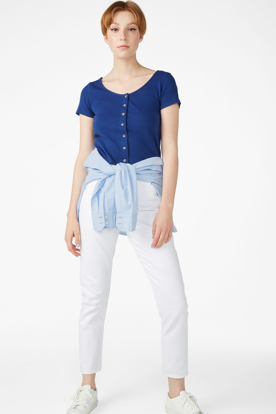 Model side image of Monki ribbed top in blue
