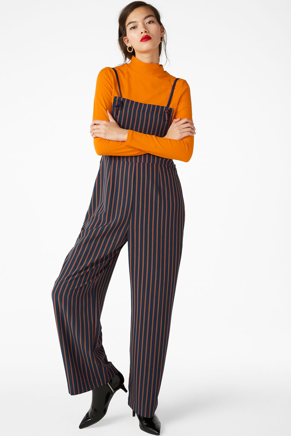 Model front image of Monki flowy dungarees in blue