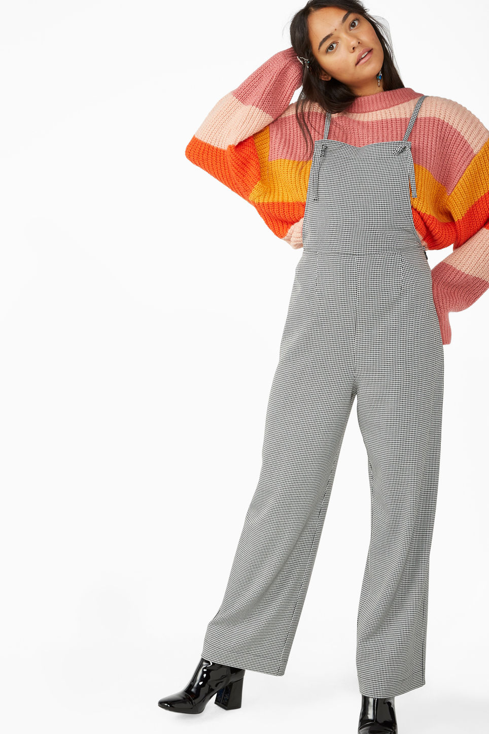Model front image of Monki flowy dungarees in white