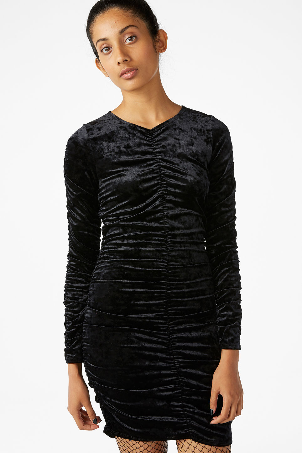 Model front image of Monki ruched velvet dress in black