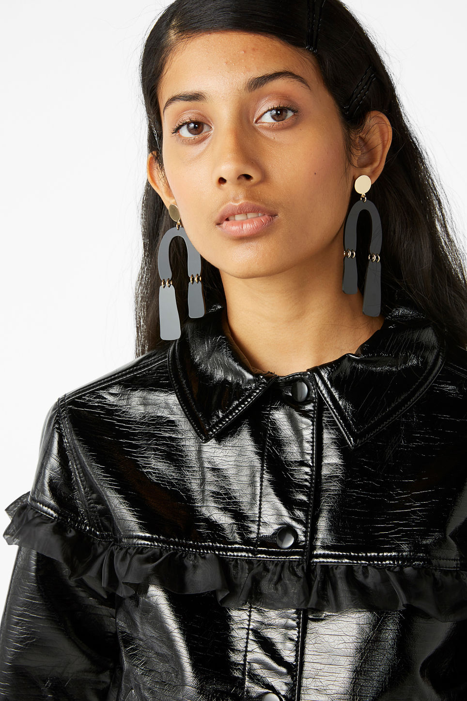 Model front image of Monki patent faux leather jacket in black